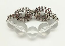 Large and XL Round Clear Beads with Silvertone Link Chains Stretch Bracelet NWOT