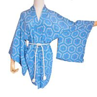 Japanese Vintage Blue Silk Haori Kimono Short Robe Jacket,Silk Belt,