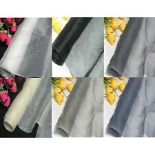 By Meters 100% Pure Silk Organza Fabric White Gray Black Ivory Dress Material