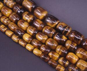 "Natural Gemstone Tiger's Eye Drum Spacer Beads 4mm 6mm 8mm 10mm 12mm 16mm 15.5"""
