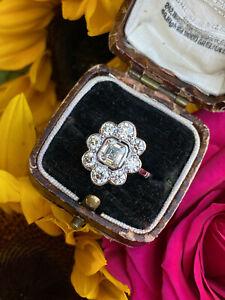 Victorian Daisy Diamond Asscher Cut Cluster Platinum Ring 2.26ct