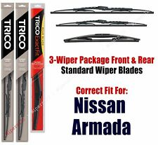 3-Pack Wipers Front & Rear Standard fit 2017+ Nissan Armada 30240/190/10B
