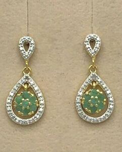 Ohrstecker  Smaragd, Smaragde & Diamant   925er Silber