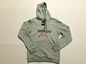 Nike Ohio State Buckeyes Club Fleece PO Hoodie Dark Grey Heather Mens Small