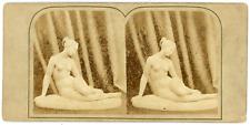 STEREO Sculpture, statue femme nue déesse à identifier, circa 1870 Vintage stere