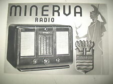 PLAQUETTE PUBLICITAIRE RADIO MINERVA POSTES A LAMPES DE 1939 MODELES 396 397 398