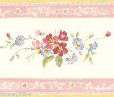 Pink Tea Rose Flower Floral Vine Leaf Cream Country Mini Wall paper Border