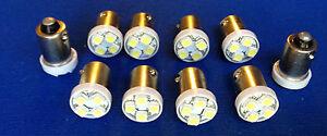 10 Caddy BRIGHT White 12V LED Instrument Panel BA9S 1815 Light Bulbs 1895 NOS