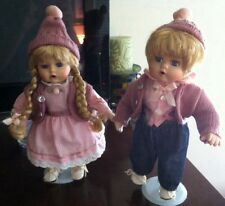 SEYMOUR MANN Porcelain Collection DOLLS TWINS Boy & Girl WINTER HOLIDAY PINK