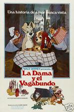 Dama y el Vagabundo Vintage Dibujos Animados Disney Cartel de Película Estampado