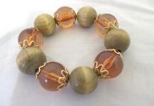 "Big Bead Bangle Stretch Bracelet Wood & Amber Acrylic Gold Accents 7"" Flat"