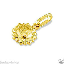 3D Italian Puffy Sun Sunshine Charm Pendant Real 14K Yellow Gold