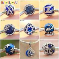 925 Sterling Silver Royal Blue Midnight Blue Enamel Clear CZ Charm Dangle Bead
