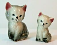 Vintage Ceramic Cat & Kitten Figurines   Gray & White Hand Painted