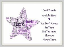 Best Friend Gift Birthday Friendship Quote Personalised Word Print Art Poem Star