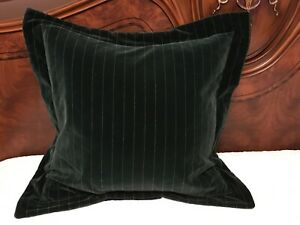 "RARE! VTG Ralph Lauren Hunter Green Pin Stripe Velvet  24""x 24"" Pillow Sham USA"