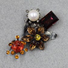 Philippe Ferrandis Paris Faux Pearl & Colored Crystal Floral Pin Brooch