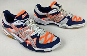 Asics Mens GEL-Progressive 2 Indoor Squash Shoes White/Orange Trainers Size 11