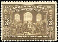 1917 Mint NH Canada F Scott #135 3c 50th Anniversary Issue Stamp