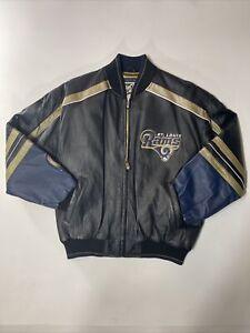 Vtg 90s Carl Banks G-III St Louis Rams Los Angeles Black Leather Mens Jacket L