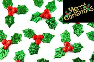 20-500 Christmas Holly & Berry Leaves Fabric Embellishments, Tableware, Crafts