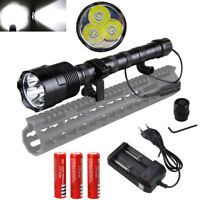 Tactical 6000LM T6 LED Hunting Flashlight Torch 3*18650 Charger  Gun Mount