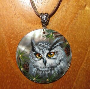 Pendant GREY OWL BIRD Genuine Russian hand painted Black Lip SHELL signed GIFT