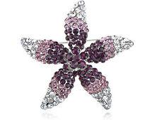 Rhinestone Starfish Flower Pin Brooch Elegant Women Wedding Amethyst Crystal