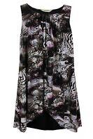 New Ladies Black Pink Swirl Print Overlay Tunic Dress Plus Size 16 - 26