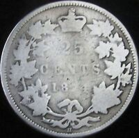 1874-H Good Canada Silver 25 Cents - KM# 5