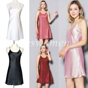 Women Silk Satin Slips Anti-Static Camisole Sleepwear Nightdress Lingerie Dress