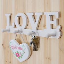 Wall White Vintage Door Clothes Robe Key Holder Hat Hanger LOVE Hook