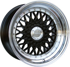 "Alloy Wheels 15"" Lenso BSX Black Polished Lip For Mazda MX-5 [Mk1] 89-97"