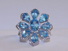 GENUINE 4.90tcw! Swiss Blue Topaz Flower Ring, Solid Sterling Silver 925.