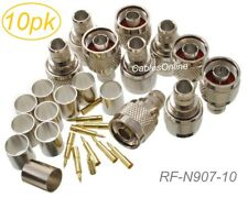 10-Pack, N Male Crimp Type RF Connectors for RG8/RG213/LMR400 Coax Wire