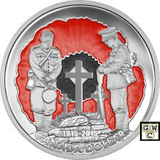 2015Enameled 'In Flanders Fields' Special-Edition Prf $1  Fine Silver Coin(17463