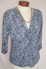 FRESH PRODUCE Top Sz L GRAY Twist Bodice 3/4 Sleeves Dressier Blouse SO FAB ON