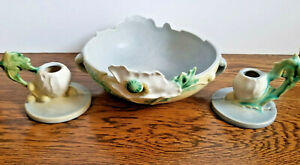 Antique Roseville Poppy Pattern 3 Piece Console Set Bowl & Candle Holders