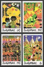 Singapore 552-555,555a,MNH.Mi 583-586,Bl.22. Festivals 1989.Children's Drawings.