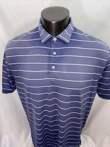 Peter Millar Summer Comfort Purple GOLF Polo Shirt Large Striped