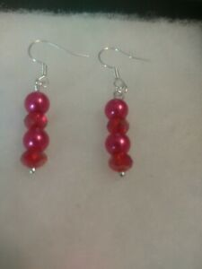 New Red Faux Pearl & Crystal Silver Plated Earrings