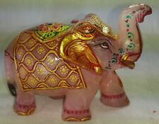 Rose Quartz Hand Carved Elephant Painted 1850 Carat Decorative Figurine 137
