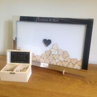 Personalised mirror drop box frame Wedding Guest Book white background