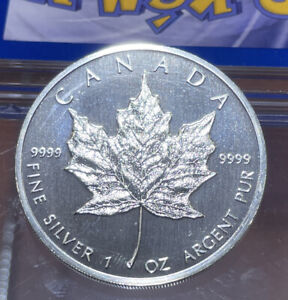 Canadian Maple Leaf, Silver 1 OZ. - 1988-RARE