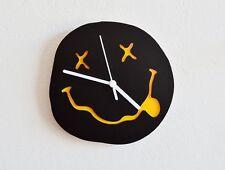 Nirvana Smiley Silhouette (Black & Yellow) - Wall Clock