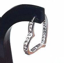 White Swarovski Crystals Heart Hoop Earrings Sterling Silver