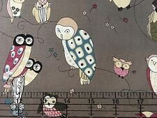 Spotted Owls Alexander Henry  6974 DR Gray Cotton Fabric