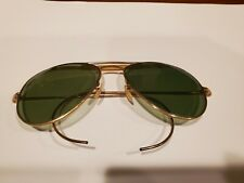 Vintage Aviator Sunglasses - Gold Frame, Green Lens
