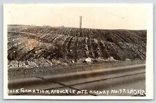 Davis OK Flat Rock Formations Near the Arbuckle Mts~Rt 77~Turner Falls~RPPC 1945