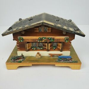 Vintage Doctor Zhivago Lara's Theme Swiss Music Box Cottage w/ Dancing Couple